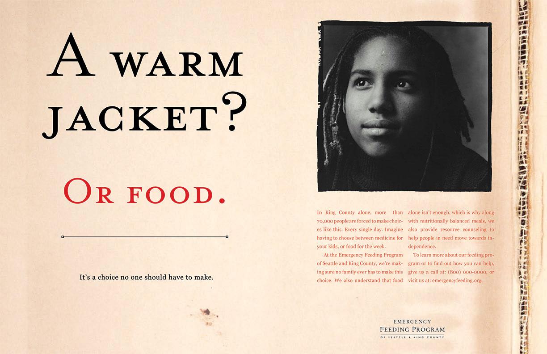 Emergency Feeding Program -A Warm Jacket? Or Food.